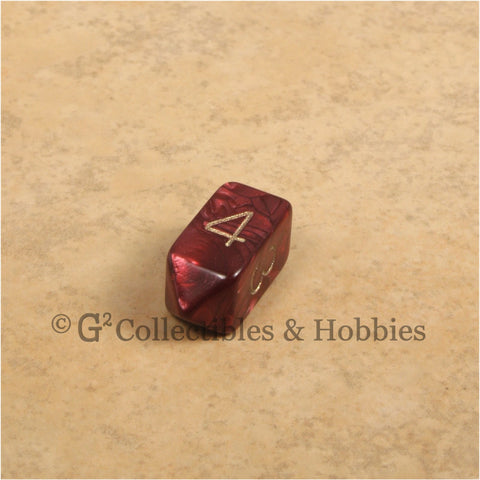 D4 Crystal Pearl Red Die with Gold Numbers