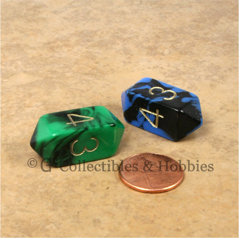D4 Crystal Oblivion Dice 2pc Set - Green & Blue