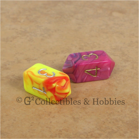 D4 Crystal Toxic Dice 2pc Set - Pink Blue & Yellow Red