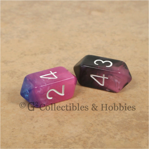 D4 Crystal Toxic Dice 2pc Set - Translucent Pink Blue & Pink Black