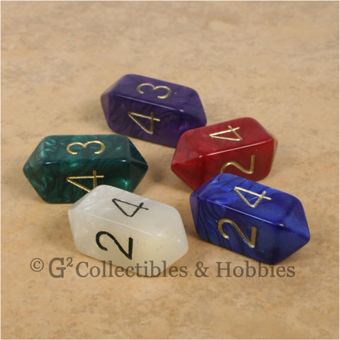 D4 Crystal Pearl Dice 6pc Set - 5 Colors