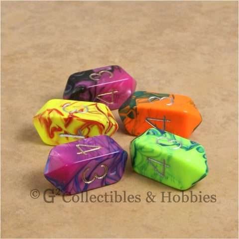 D4 Crystal Toxic Dice 5pc Set - 5 Colors