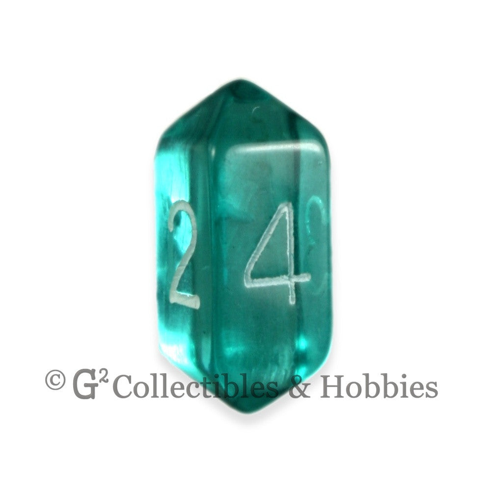 D4 Crystal Transparent Aqua Blue Die with White Numbers
