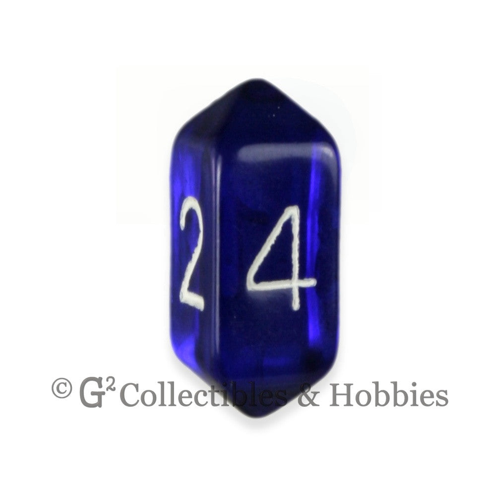 D4 Crystal Transparent Blue Die with White Numbers
