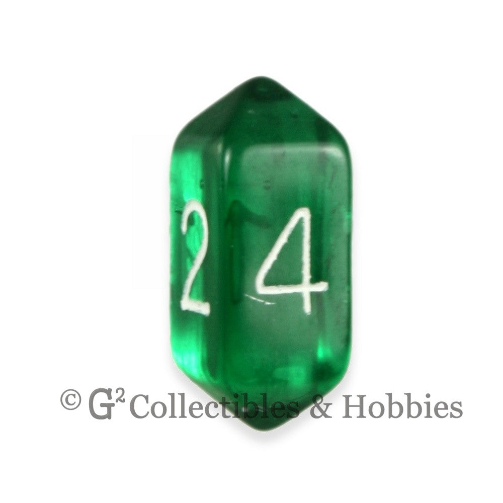 D4 Crystal Transparent Green Die with White Numbers