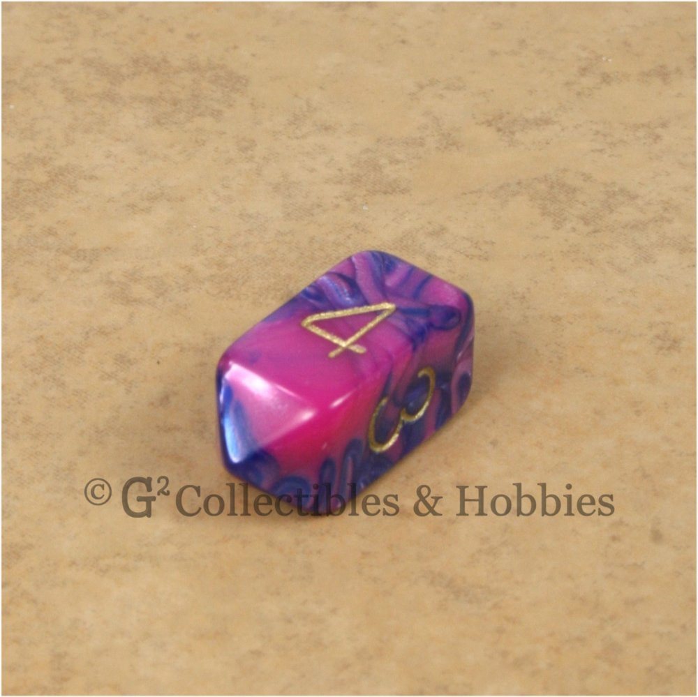 D4 Crystal Toxic Pink Blue with Gold Numbers