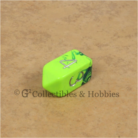 D4 Crystal Toxic Green Blue with Silver Numbers