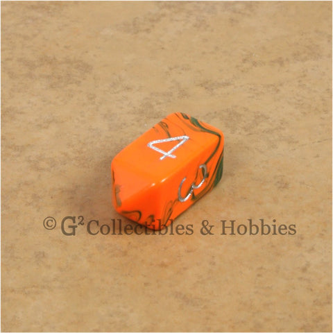 D4 Crystal Toxic Orange Blue with Silver Numbers