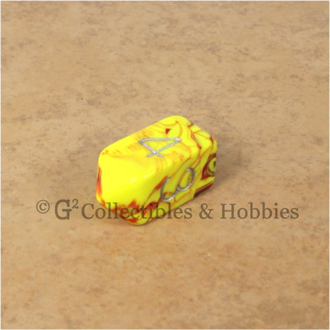 D4 Crystal Toxic Yellow Red with Silver Numbers