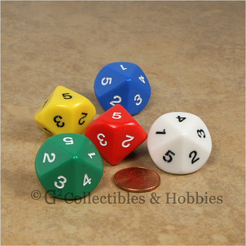 D5 (10 sided) 1 to 5 Twice 20mm Dice Set 5pc - 5 Colors