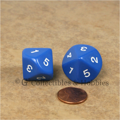 10 Sided D5 1 to 5 Twice 20mm Dice Pair - Blue