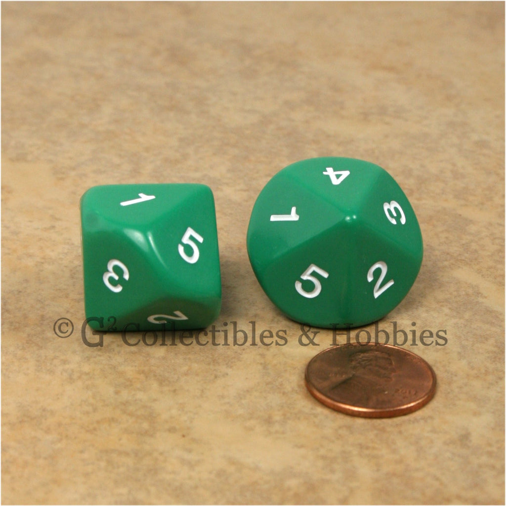 10 Sided D5 1 to 5 Twice Large 20mm Dice Pair - Green