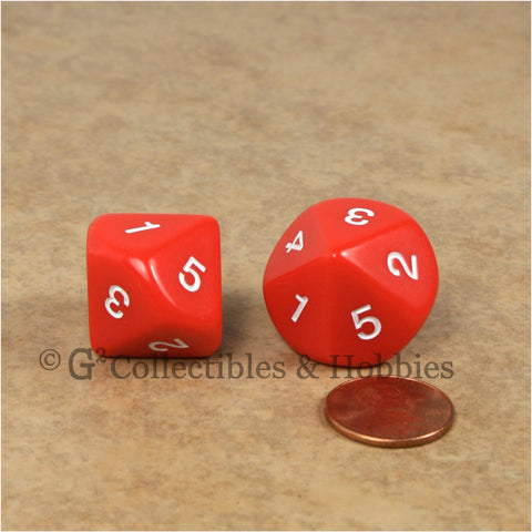 10 Sided D5 1 to 5 Twice Large 20mm Dice Pair - Red
