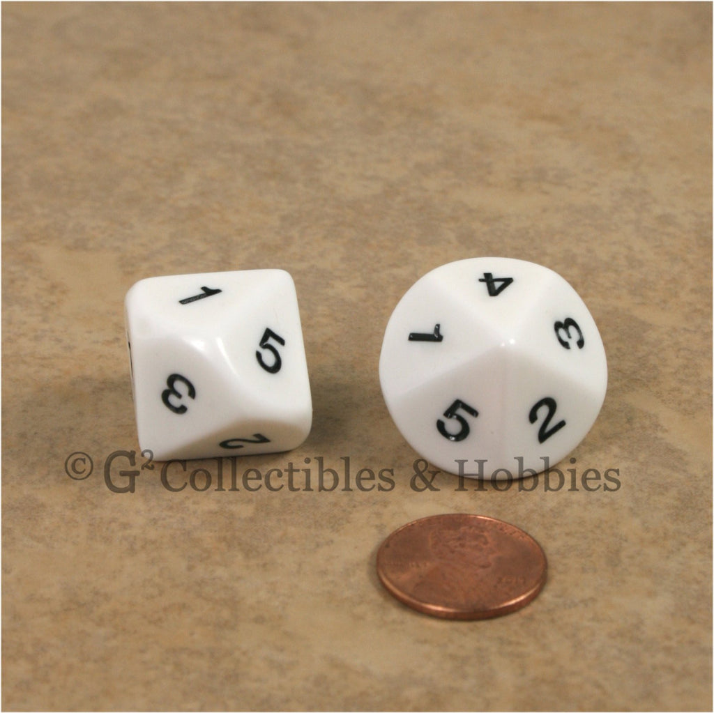 10 Sided D5 1 to 5 Twice Large 20mm Dice Pair - White