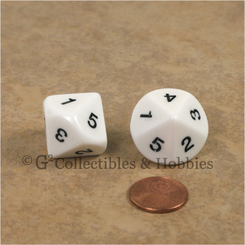 10 Sided D5 1 to 5 Twice 20mm Dice Pair - White