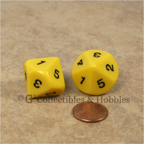 10 Sided D5 1 to 5 Twice 20mm Dice Pair - Yellow