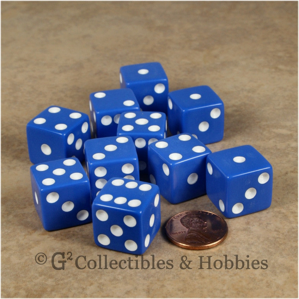 D6 16mm Opaque Blue with White Pips 10pc Dice Set