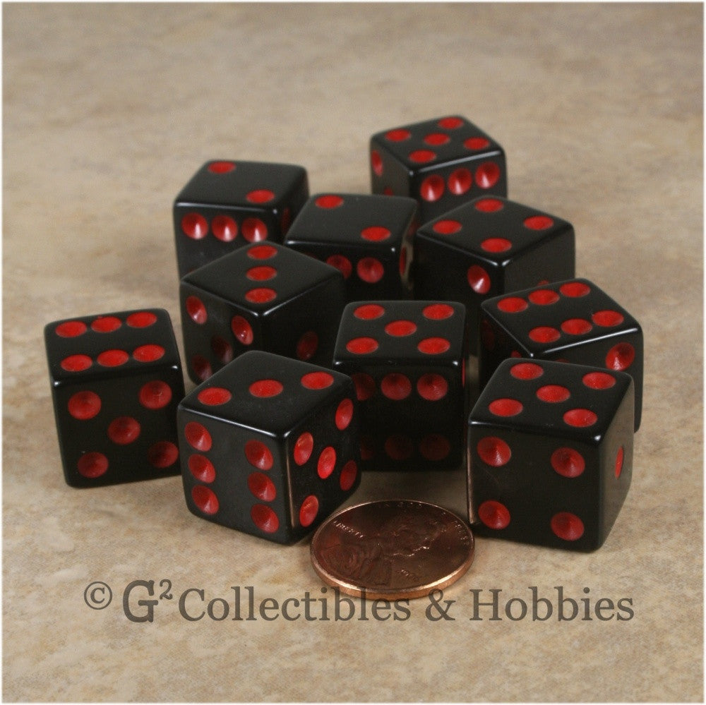 D6 16mm Opaque Black with Red Pips 10pc Dice Set