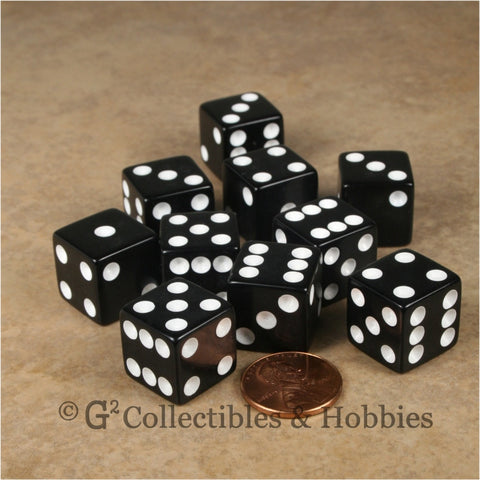 D6 16mm Opaque Black with White Pips 10pc Dice Set