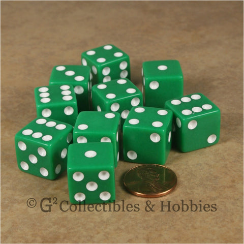 D6 16mm Opaque Green with White Pips 10pc Dice Set