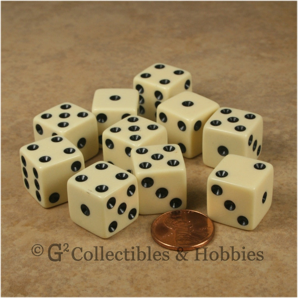 D6 16mm Opaque Ivory with Black Pips 10pc Dice Set