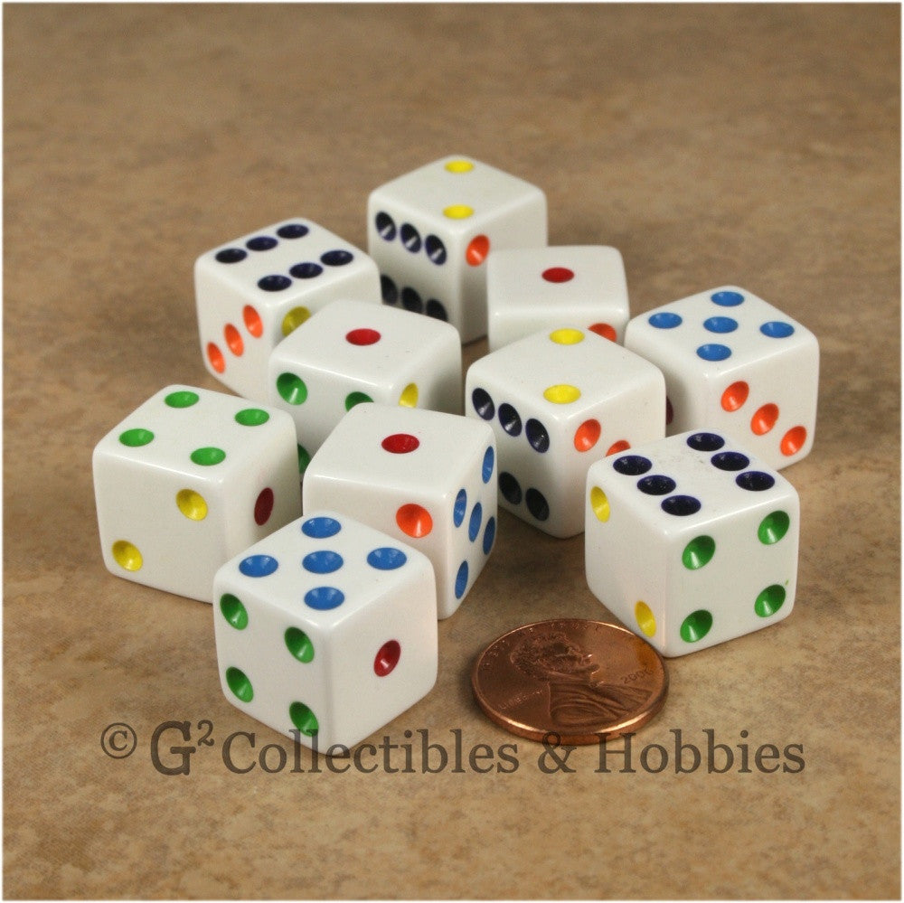 D6 16mm Opaque White with Multicolor Pips 10pc Dice Set