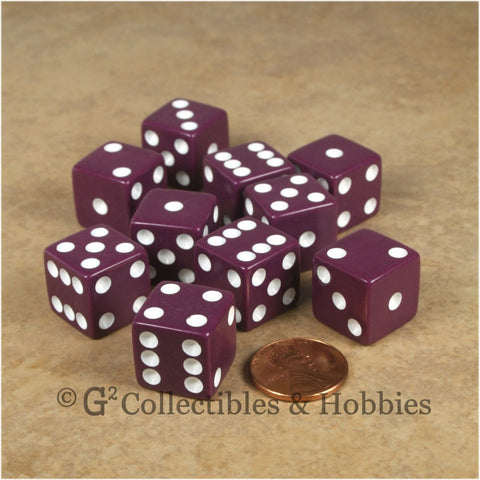 D6 16mm Opaque Purple with White Pips 10pc Dice Set