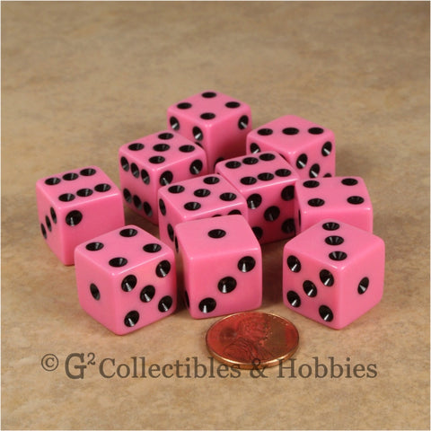 D6 16mm Opaque Pink with Black Pips 10pc Dice Set