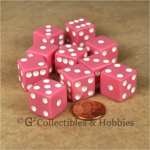 D6 16mm Opaque Pink with White Pips 10pc Dice Set