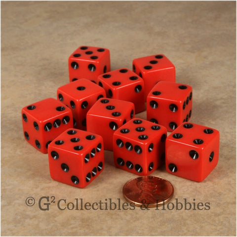 D6 16mm Opaque Red with Black Pips 10pc Dice Set