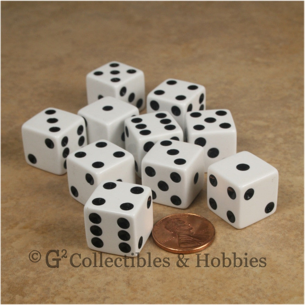 D6 16mm Opaque White with Black Pips 10pc Dice Set