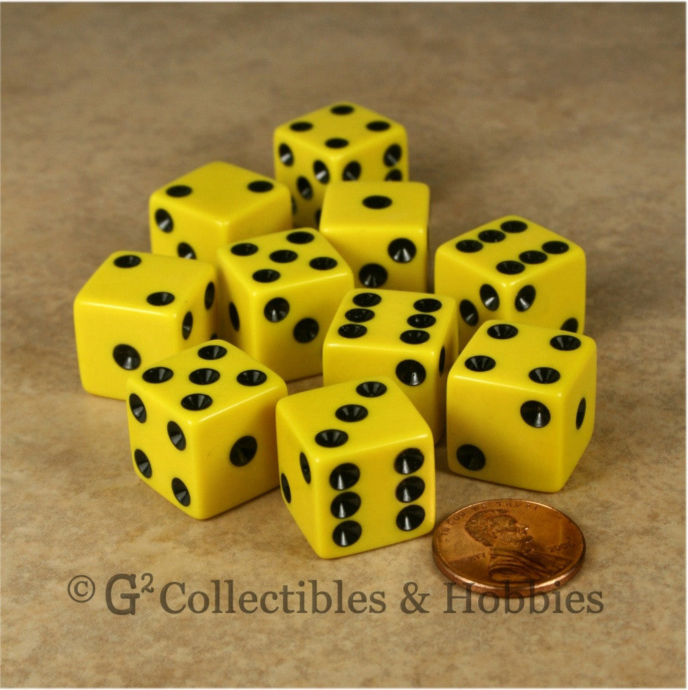 D6 16mm Opaque Yellow with Black Pips 10pc Dice Set