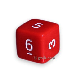 D6 Opaque Red with White Numbers
