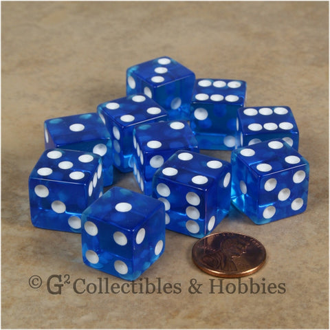 D6 16mm Transparent Blue with White Pips 10pc Dice Set