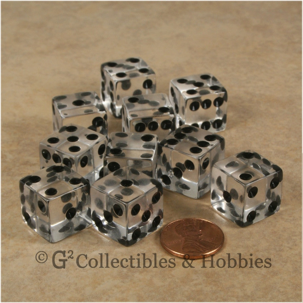 D6 16mm Transparent Clear with Black Pips 10pc Dice Set