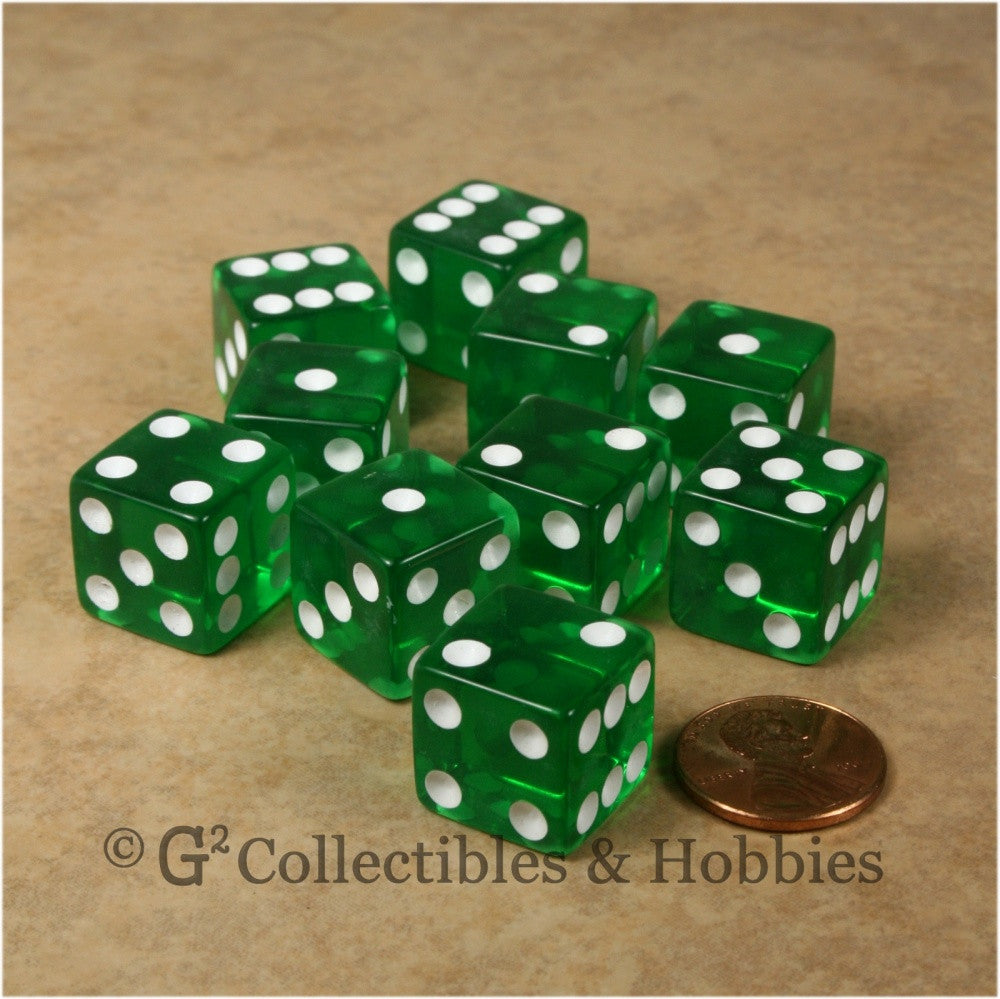D6 16mm Transparent Green with White Pips 10pc Dice Set