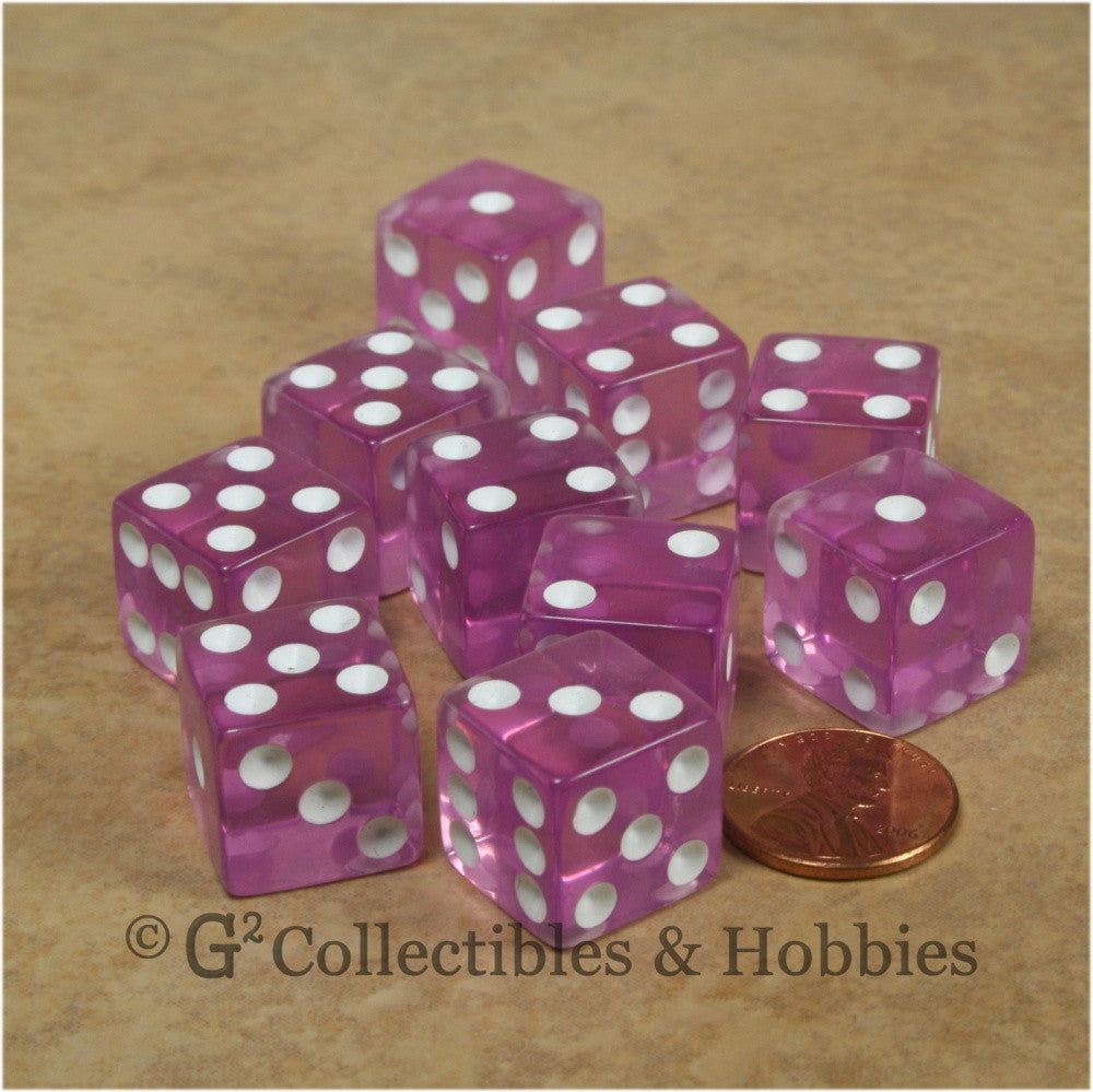 D6 16mm Transparent Orchid with White Pips 10pc Dice Set