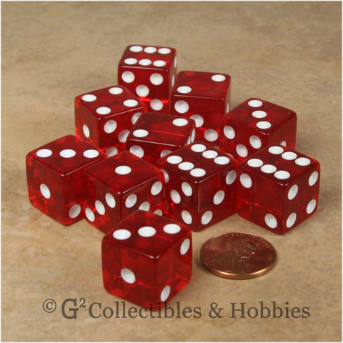 D6 16mm Transparent Red with White Pips 10pc Dice Set