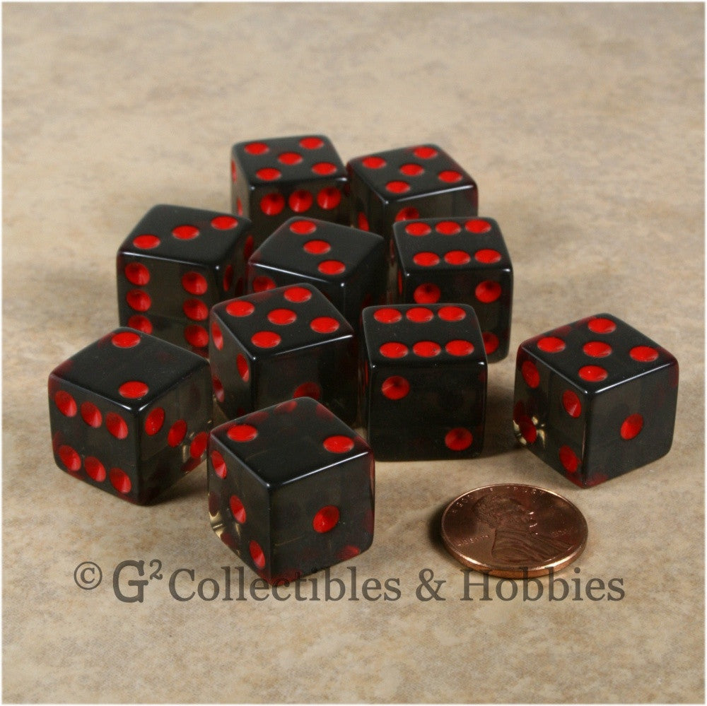 D6 16mm Transparent Smoke Gray with Red Pips 10pc Dice Set