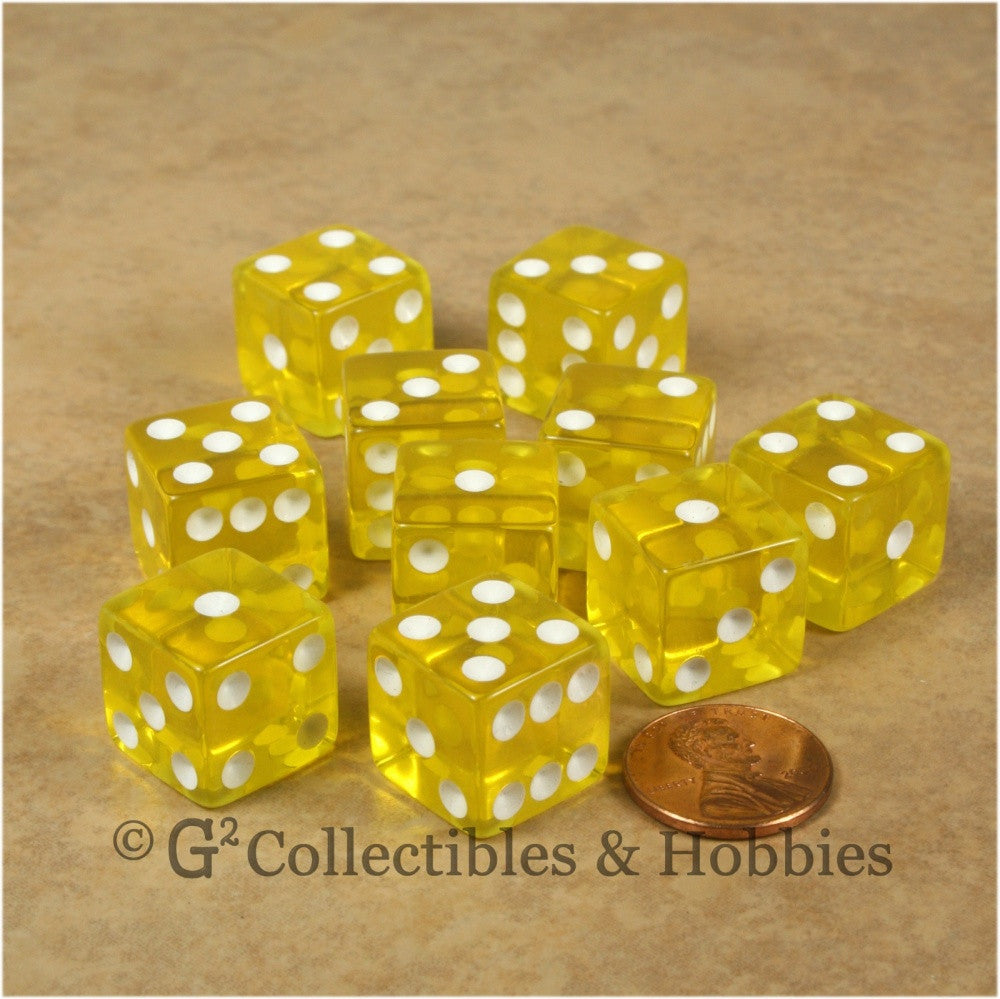 D6 16mm Transparent Yellow with White Pips 10pc Dice Set