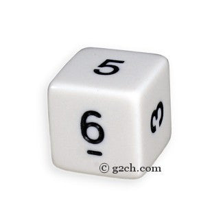 D6 Opaque White with Black Numbers