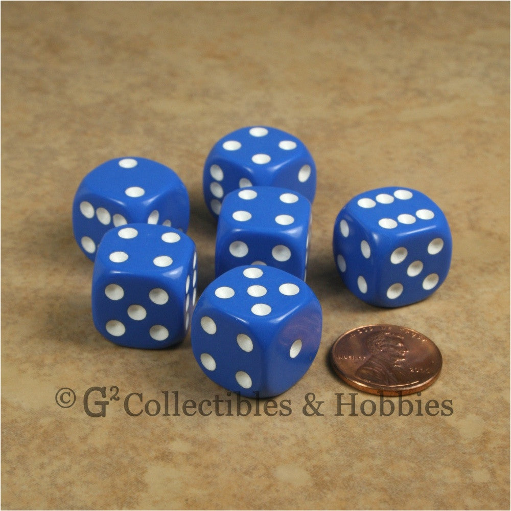 D6 16mm Rounded Edge Blue with White Pips 6pc Dice Set