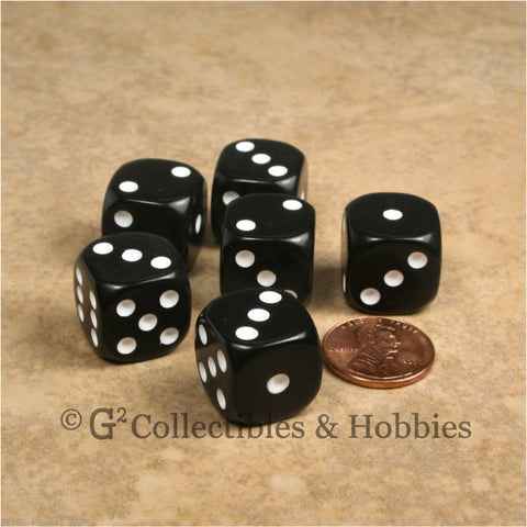 D6 16mm Rounded Edge Black with White Pips 6pc Dice Set