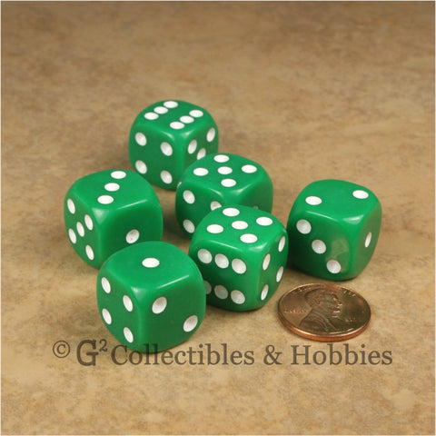 D6 16mm Rounded Edge Green with White Pips 6pc Dice Set