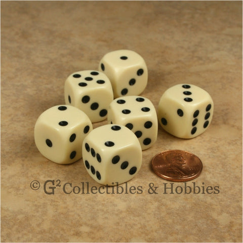 D6 16mm Rounded Edge Ivory with Black Pips 6pc Dice Set