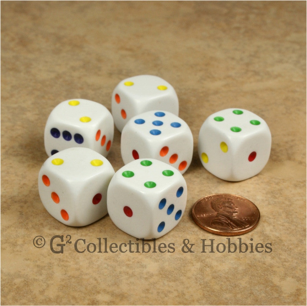 D6 16mm Rounded Edge White with Multicolor Pips 6pc Dice Set