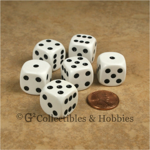 D6 16mm Rounded Edge White with Black Pips 6pc Dice Set