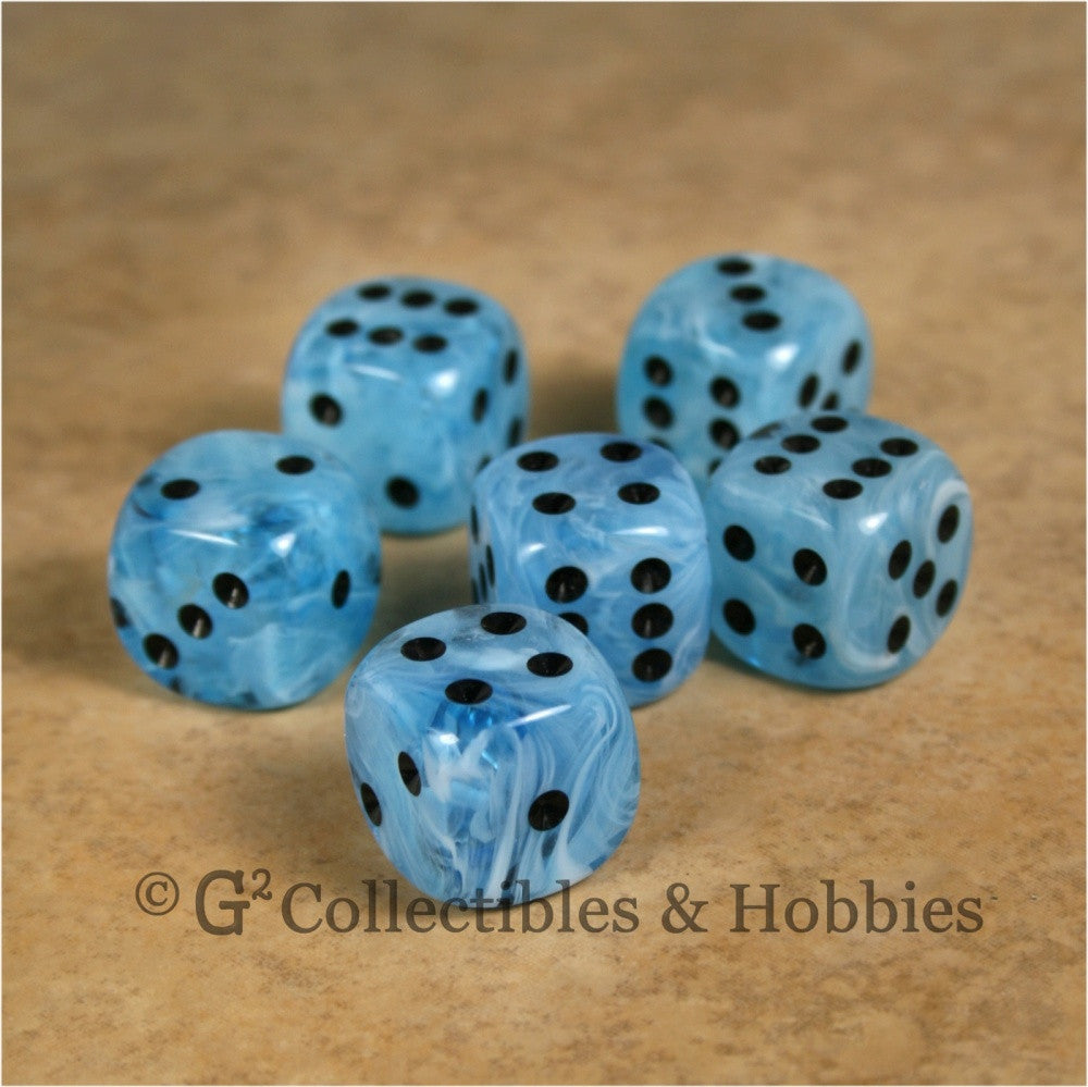 D6 16mm Deluxe Swirl Ice Blue 6pc Dice Set