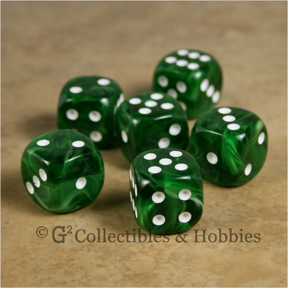 D6 16mm Deluxe Swirl Ice Green 6pc Dice Set