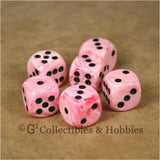 D6 16mm Deluxe Swirl Pink 6pc Dice Set